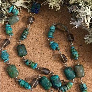 Vintage Silpada turquoise and smoky quartz